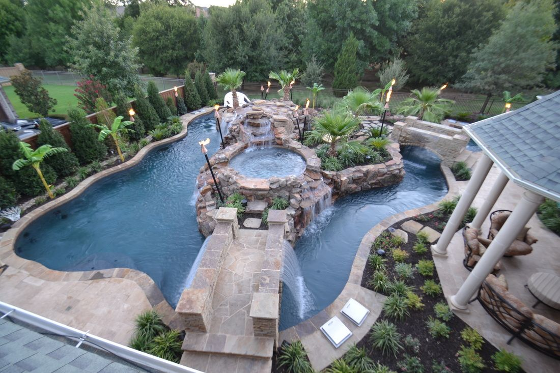 Garden and patio top view large backyard lazy river pool for Large patio design ideas