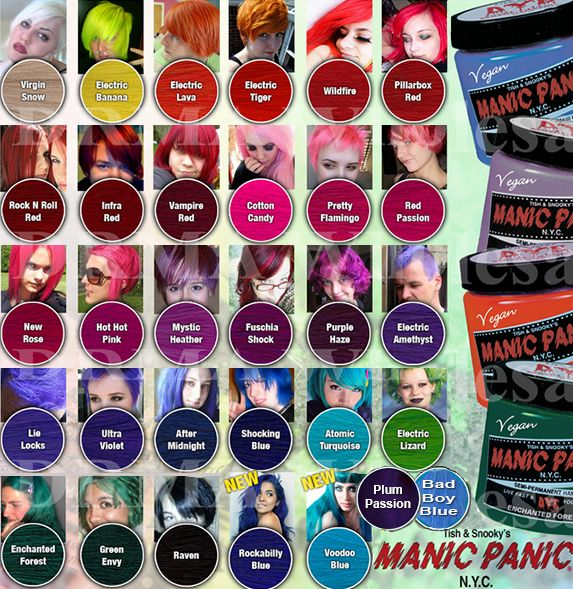 Manic Panic Color Chart Hair Dye Colors Manic Panic Hair Colored Hair Tips