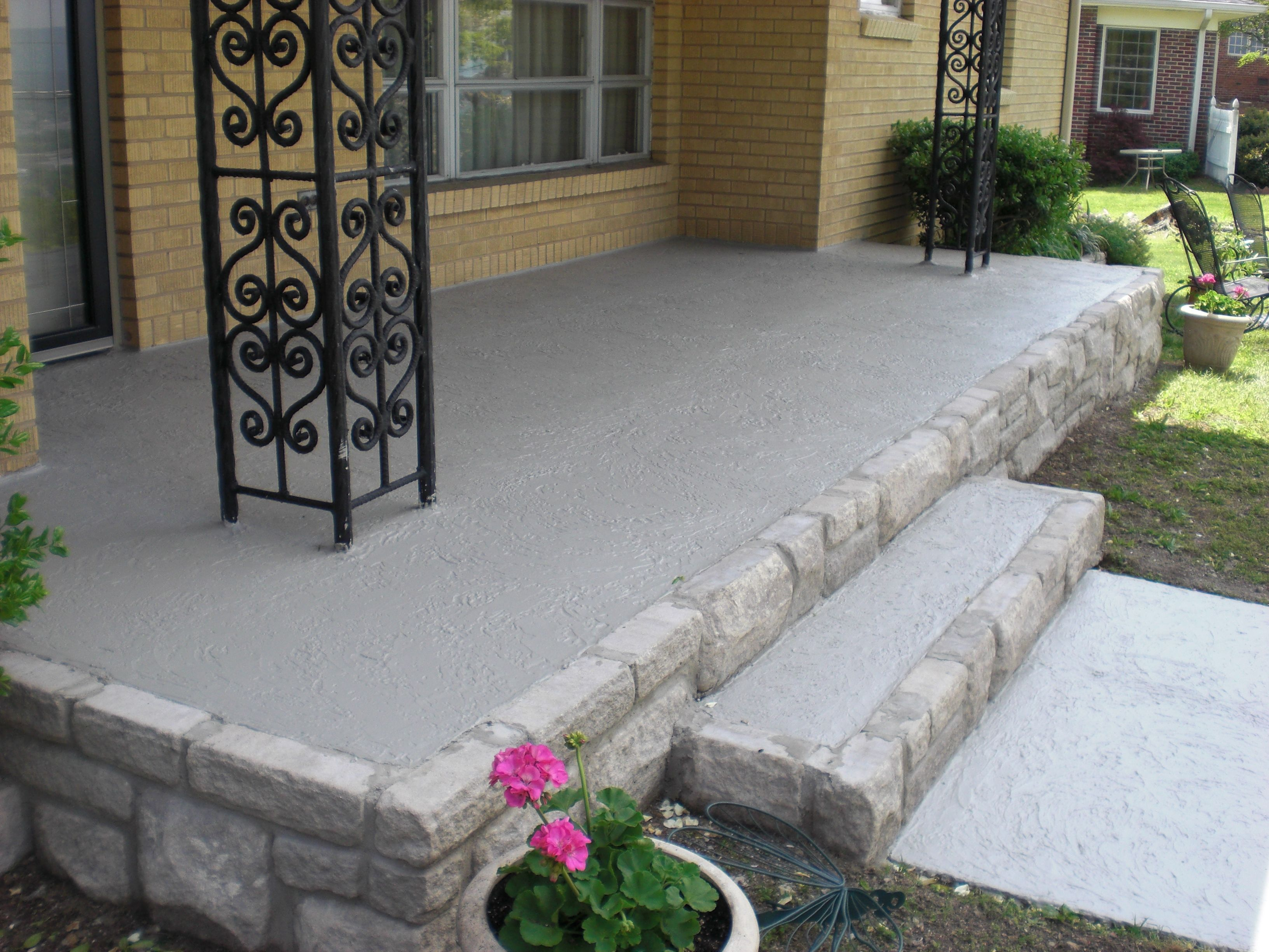 the old yellow brick was removed and replaced stone along the