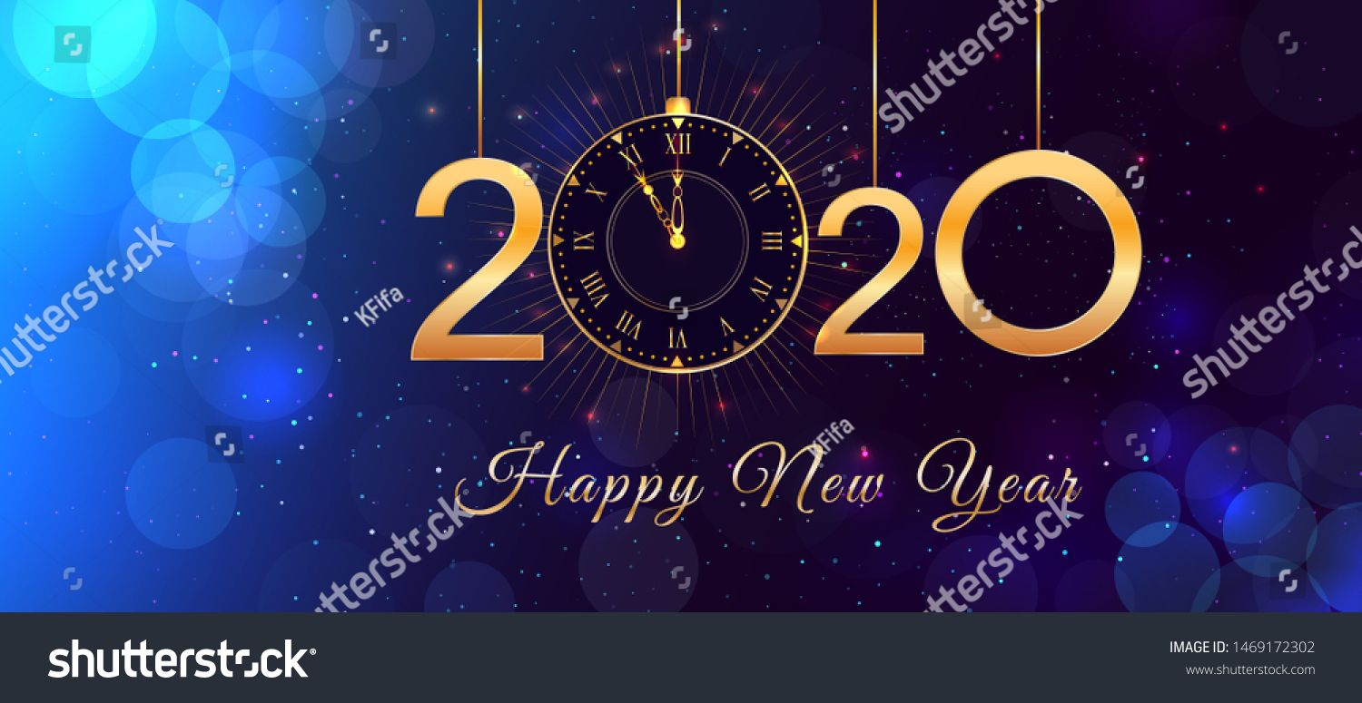 2020 Happy New Year eve text design with shiny golden