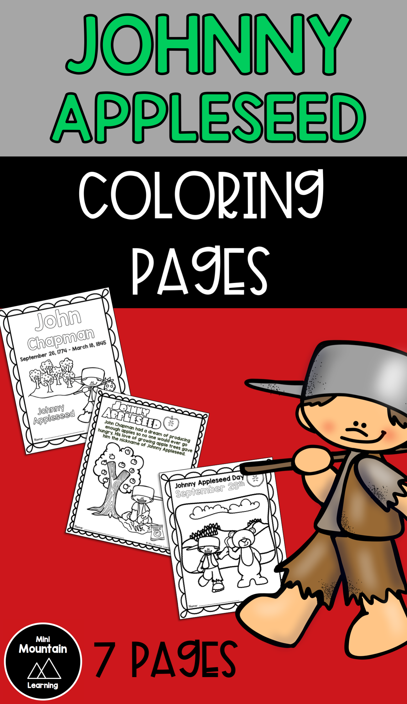 Johnny Appleseed Coloring Pages  New year coloring pages