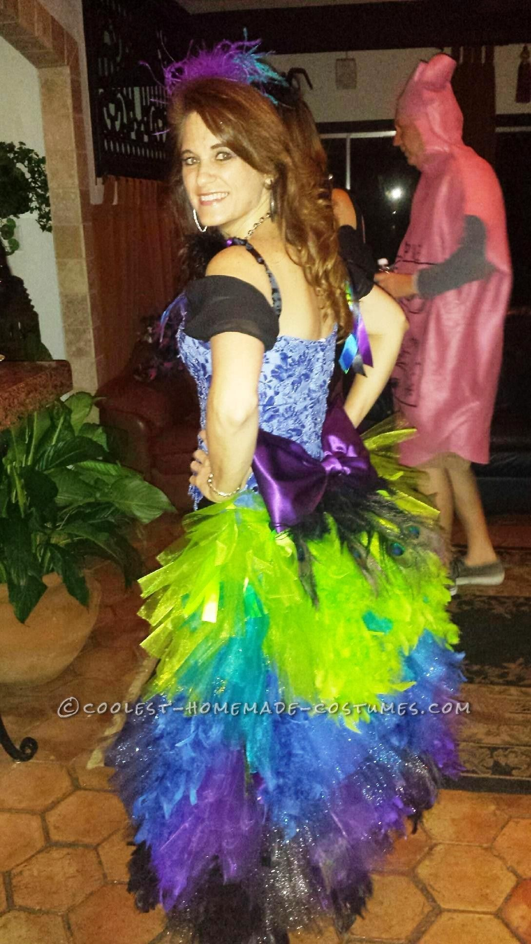 Wedding dress turned to colorful peacock costume halloween costume