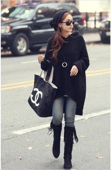 Asymmetric shawl collar tunic sweater, low high loose black ...