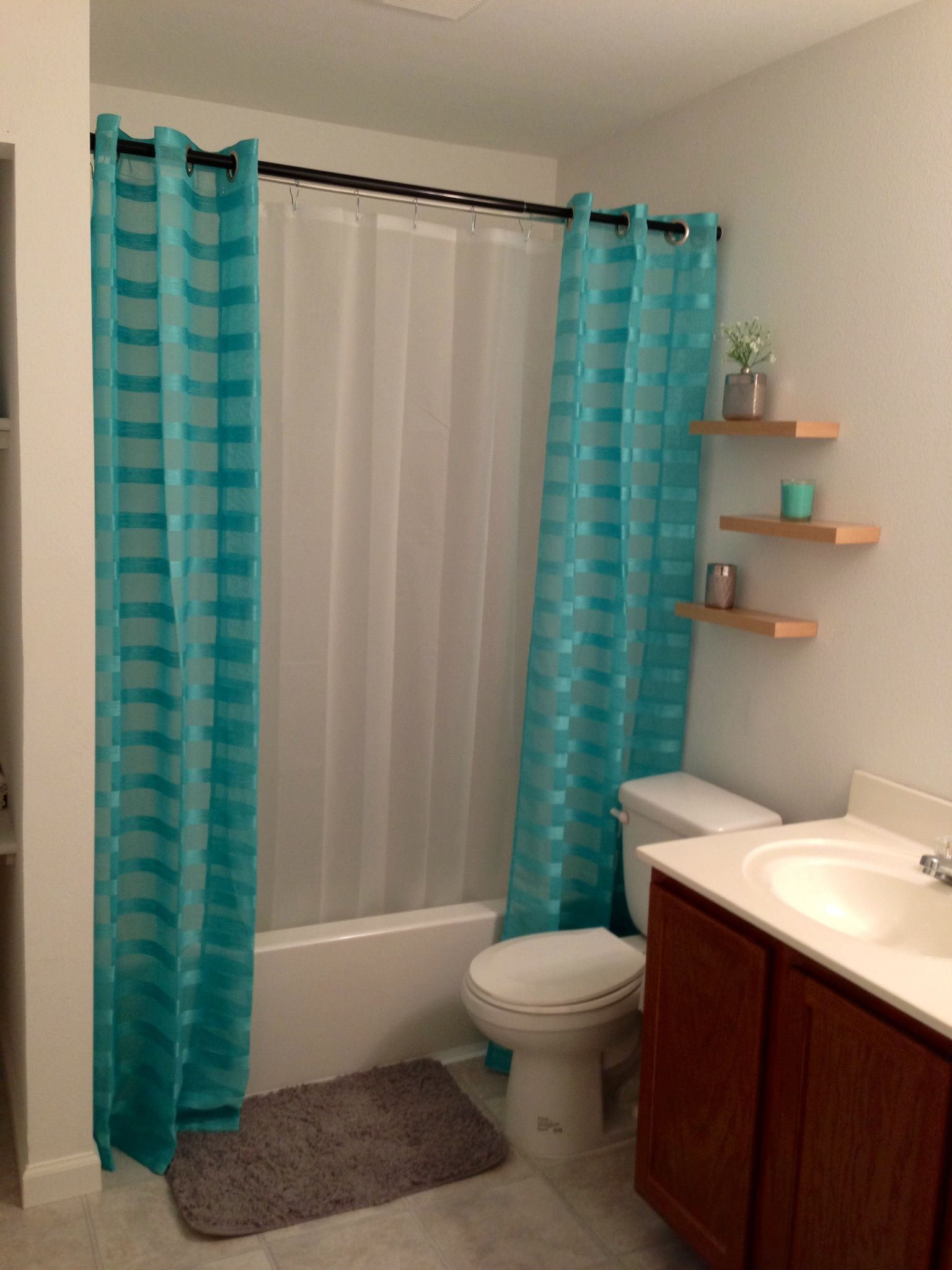 Cut Shower Curtain In Half And Sew So Its On Both Sides Or Buy Panels Looks Much Nicer This Way Would Need A Double Rod