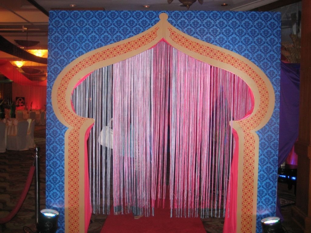 Arabian nights or bollywood themed event the entrance arc for Arc decoration arques