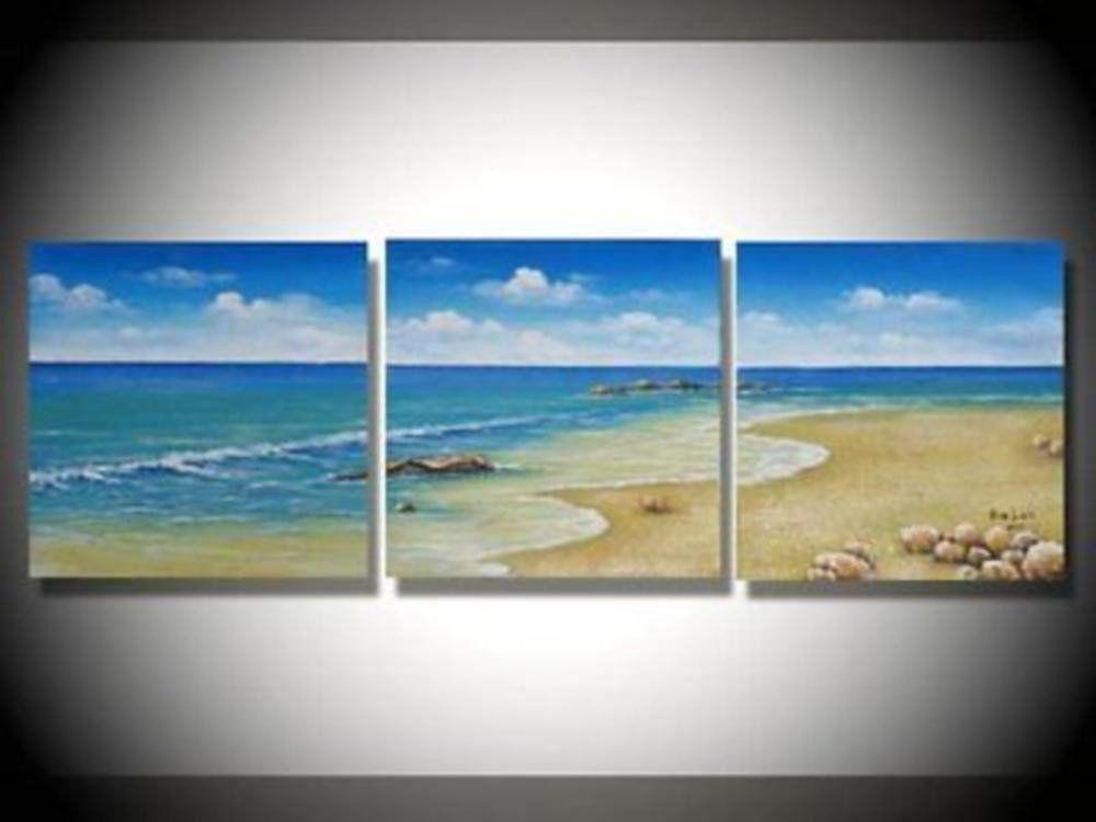 Framed 3 Piece Beach Wall Art Blue Canvas Set Sale Free Shipping Canvas Painting Canvas Wall Art 3 Piece Canvas Art