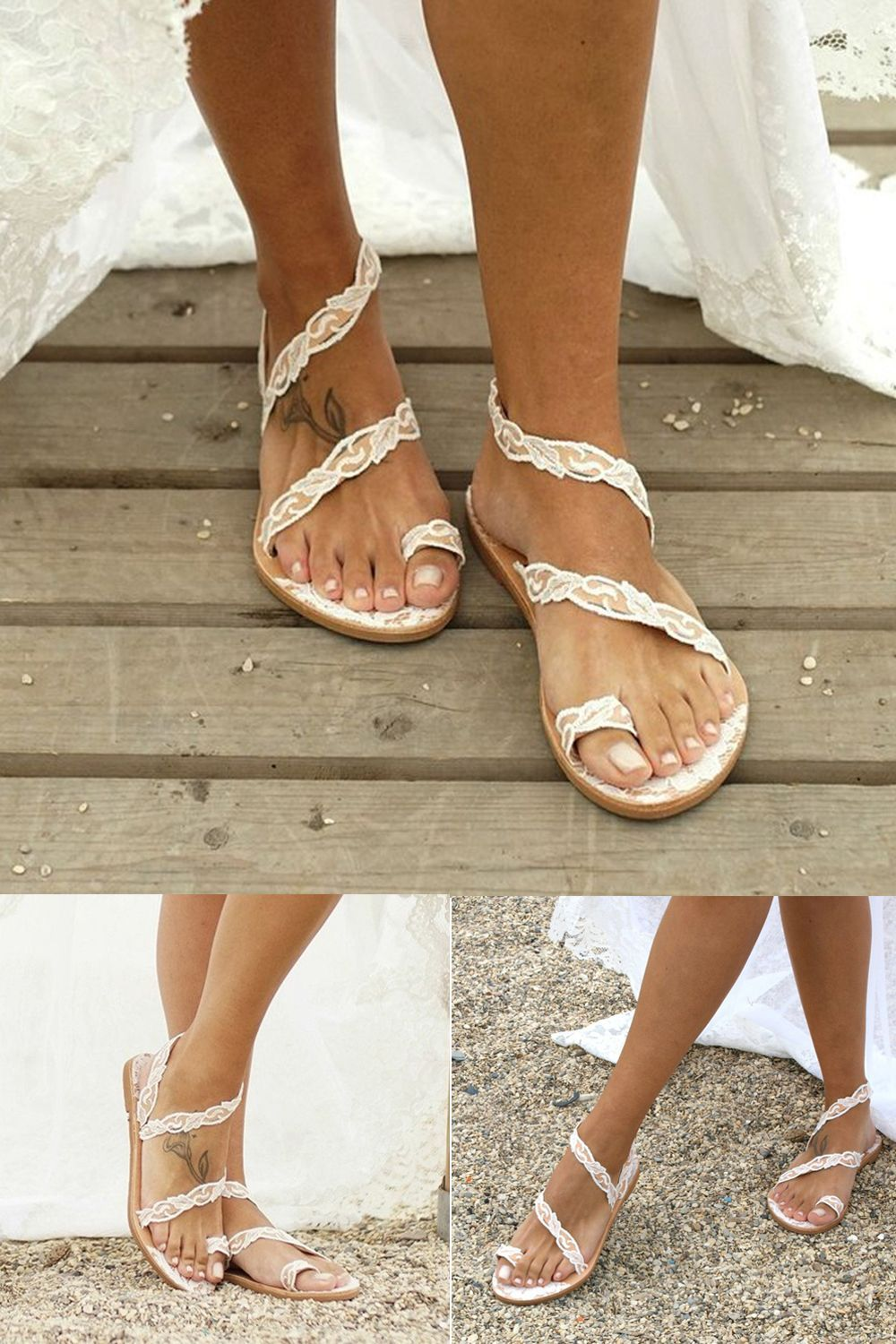 Slip On Toe Ring Wedding Flat Sandals Lace Sandals Lace Sandals Leatrend Flat Sandals Wedding Lace Sandals Wedding Shoes
