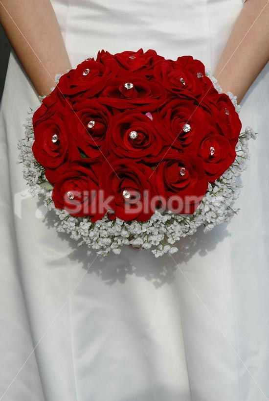 Red White Wedding Bouquet Rose And Gypsophila Flowers
