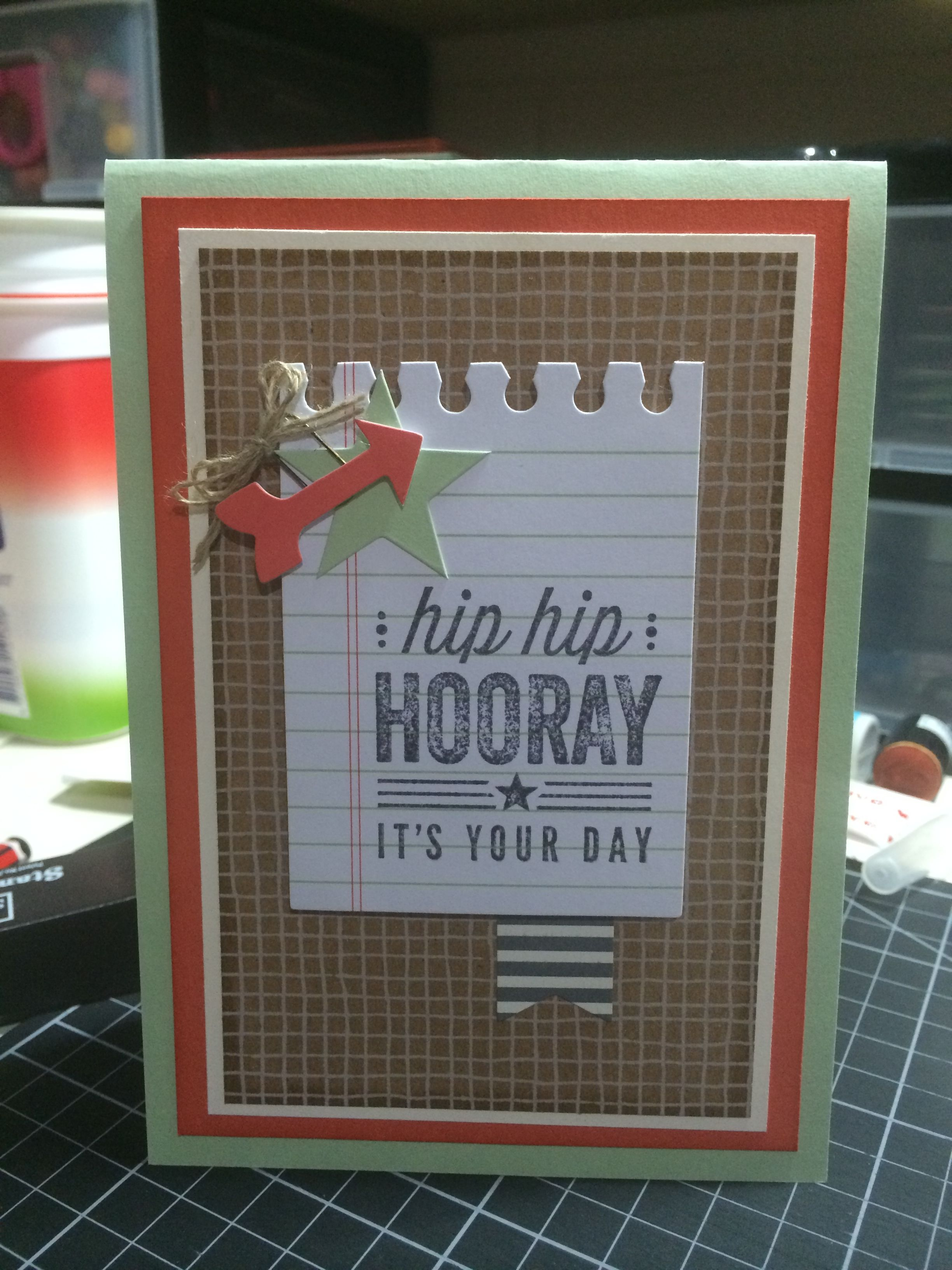 Cards from the Hip Hip Hooray Card Kit by Stampin Up! Stepped up a bit to create standard sized cards