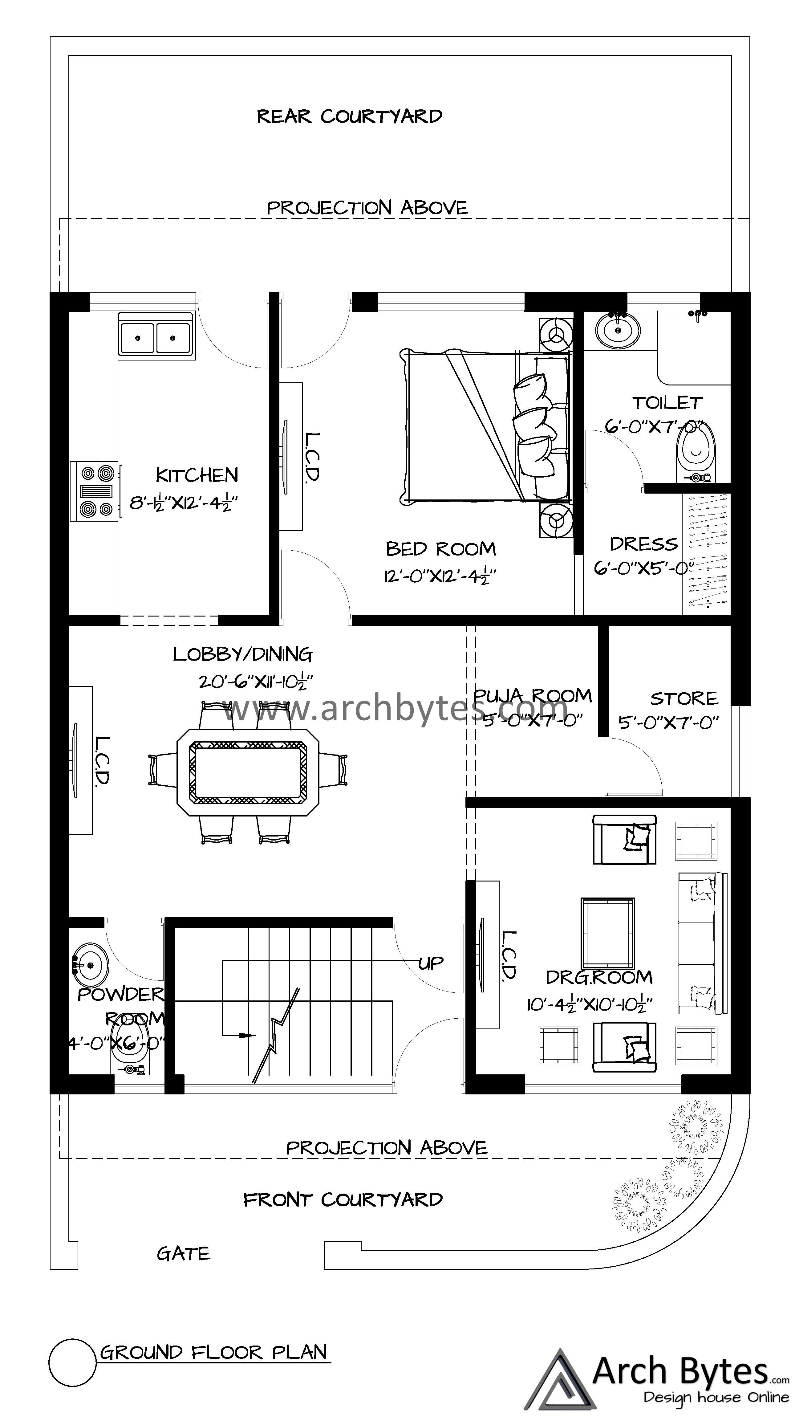 House Plan For 28x50 Feet Plot Size 155 Square Yards Gaj In 2021 House Plans Architectural House Plans Residential Plan