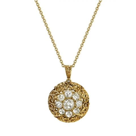 "3.70ctw old Mine cut diamonds in a beautiful 14k yellow gold Victorian cluster pendant. Circa 1880. Necklace includes 27"" chain."