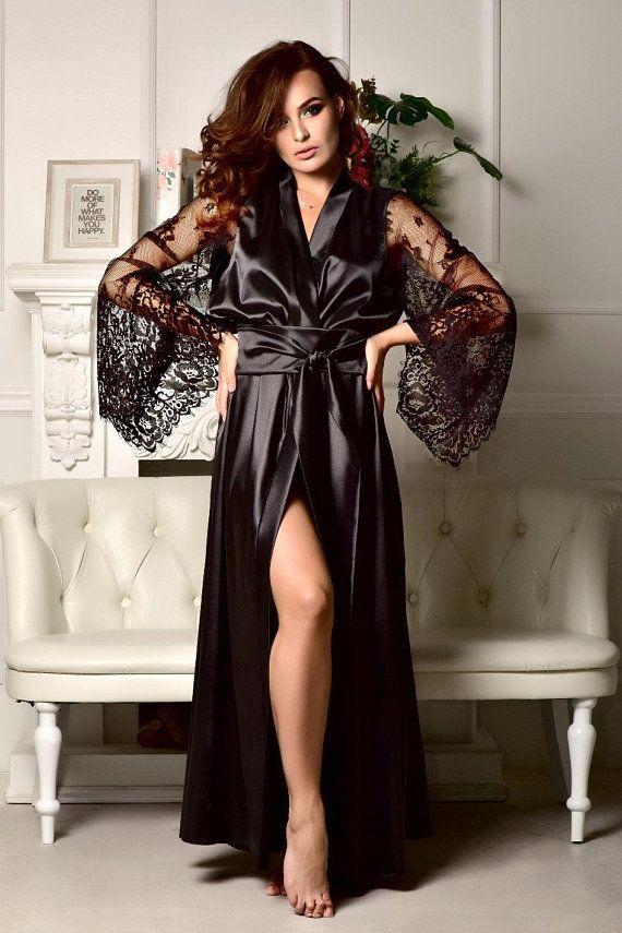 Black lace bridal robe Sexy robe Kimono robe Long robe Long bridal robe  Maxi robe Black lace robe Lo f0958f494