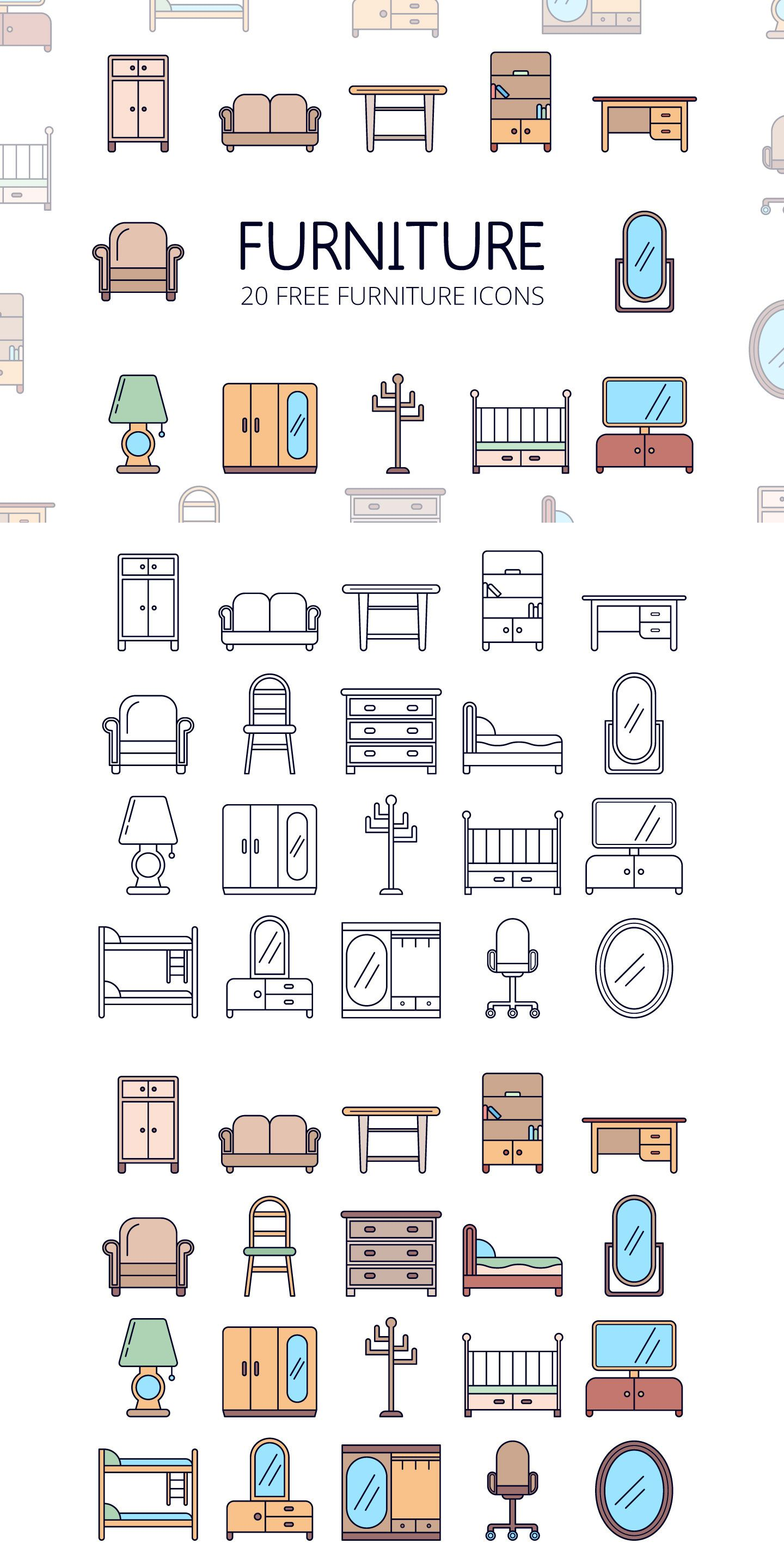 Furniture Free Vector Icon Set Icon set, Vector icons
