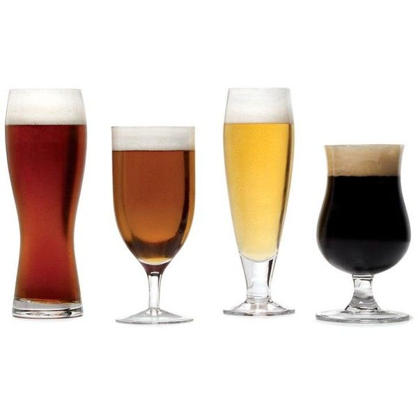 Brewmasters Set of 4 Varietal Glasses ($35) ❤ liked on Polyvore featuring home, kitchen & dining, drinkware, drinks, props, glass drinkware, pilsner beer glasses, pilsner glass, pilsner glasses and beer drinkware