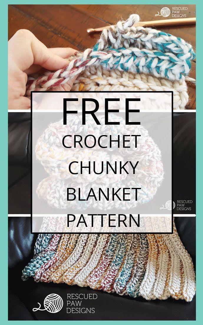 Chunky Crochet Blanket Pattern FREE BLANKET CROCHET PATTERN | Manta ...