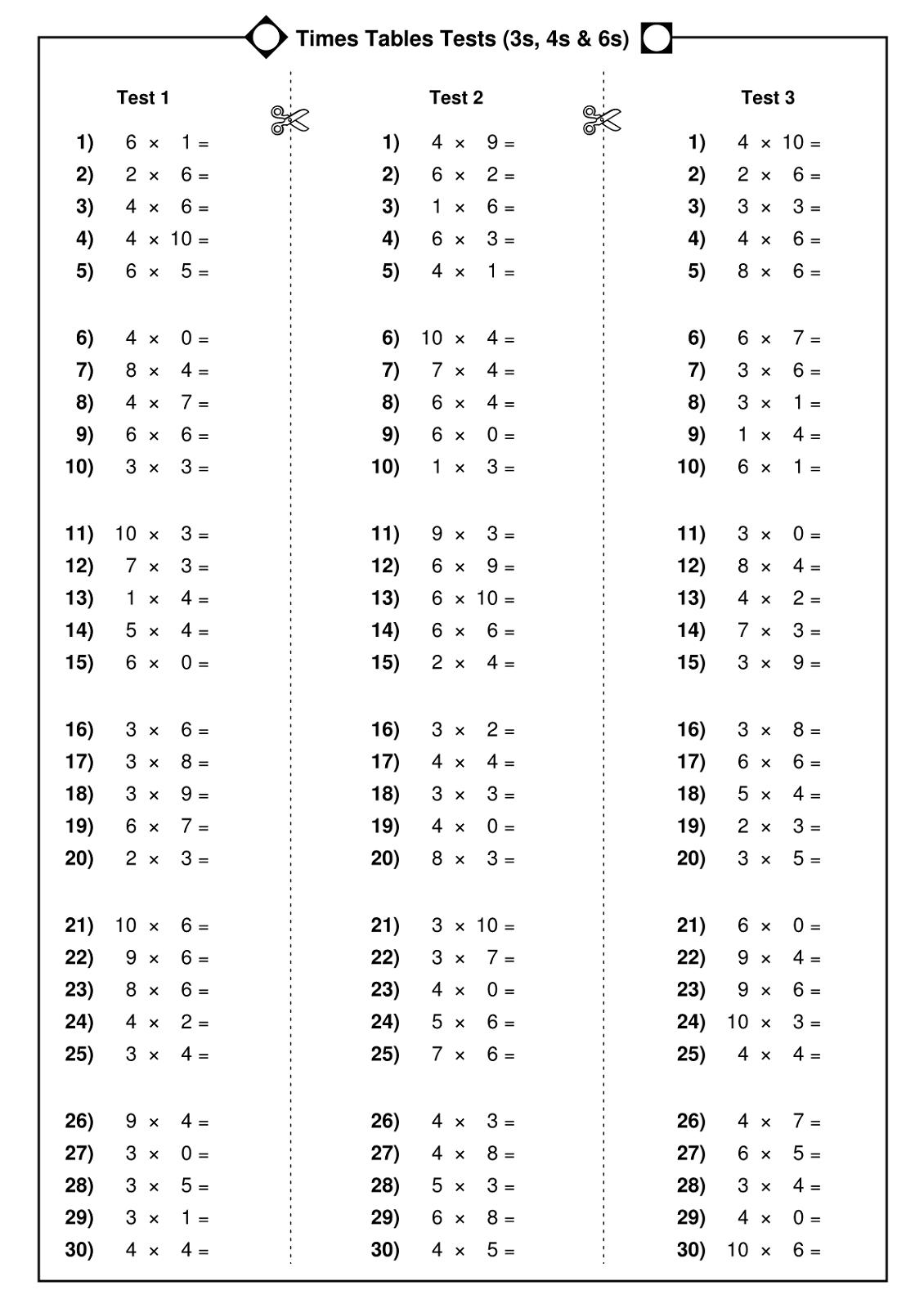 6 Times 7 Math Test