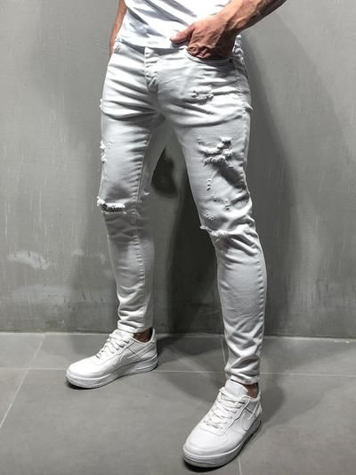 Men Simpled Distressed Ripped Jeans  White 4089 is part of Pants outfit men - This item will be delivered in  23 Business days + Easy and free return   PRODUCT FEATURES Men's Streetwear Jeans, White Jeans, Random Ripped, Casual, Skinny Fit, 5 Regular Pockets, Button Fastening, Street Fashion   MATERIALS Street fashion men's white jeans made up of 98% COTTON and 2% ELASTANE   SIZE GUIDE M