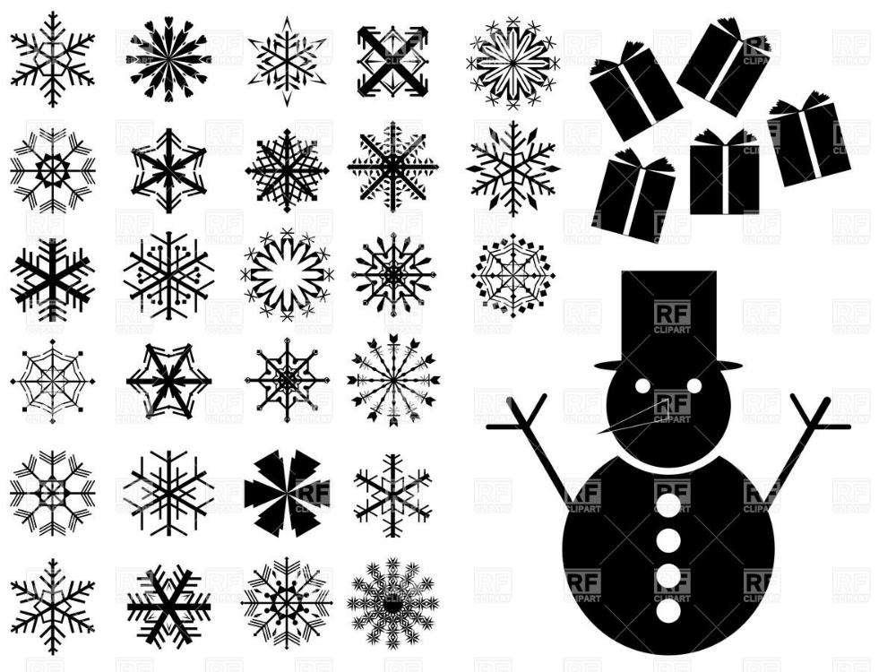 Snowflakes and snowman silhouettes Stock Vector Image