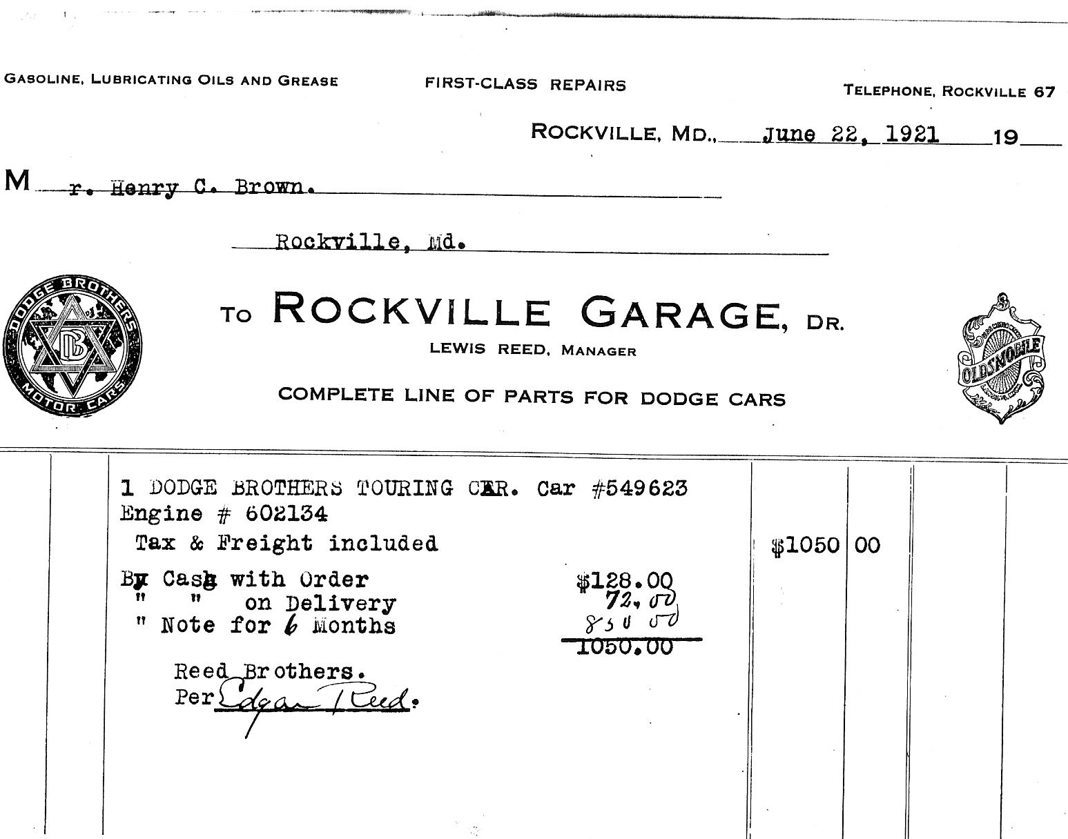 Rockville Garage First Car Invoice June Cars And Automobile - What is a dealer invoice for service business