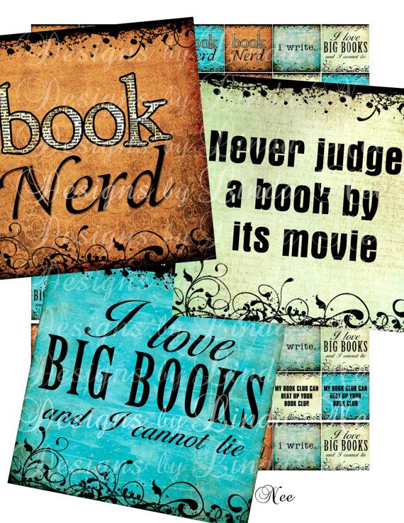 Instant Download  NEW BOOK Nerd 2 x 2 Inch by DesignsbyLindaNee
