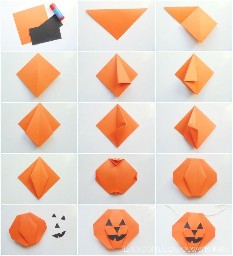Guirnalda de origami para halloween aprender - Origami con servilletas ...