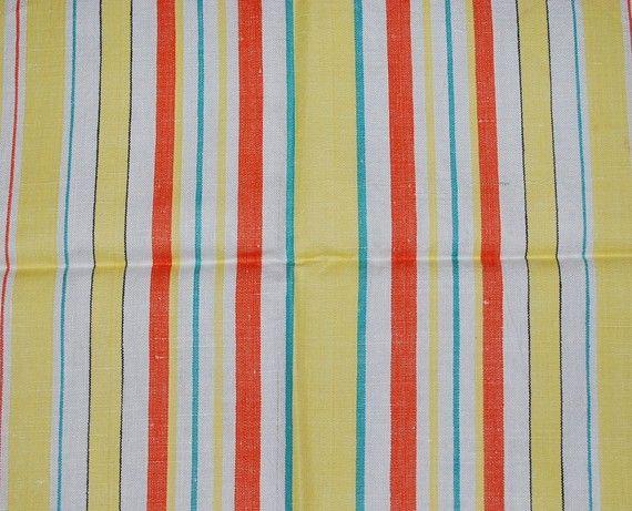 Vintage Yellow Green Orange Striped Kitchen By In2vintagecloths