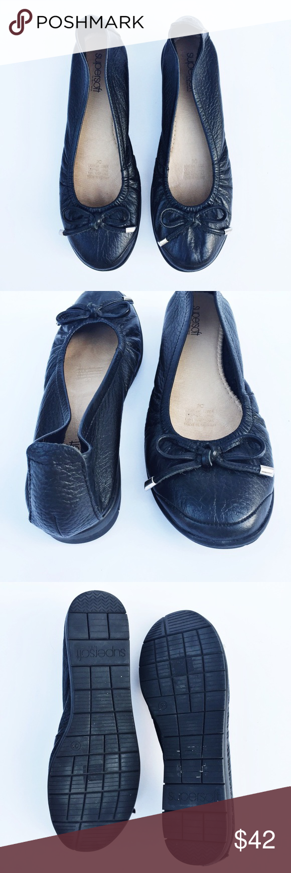 Leather flats, Black leather