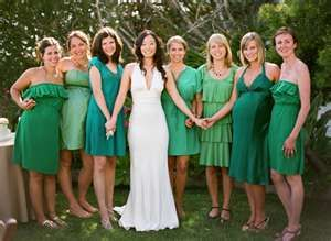 brides maids, different colors and different styles