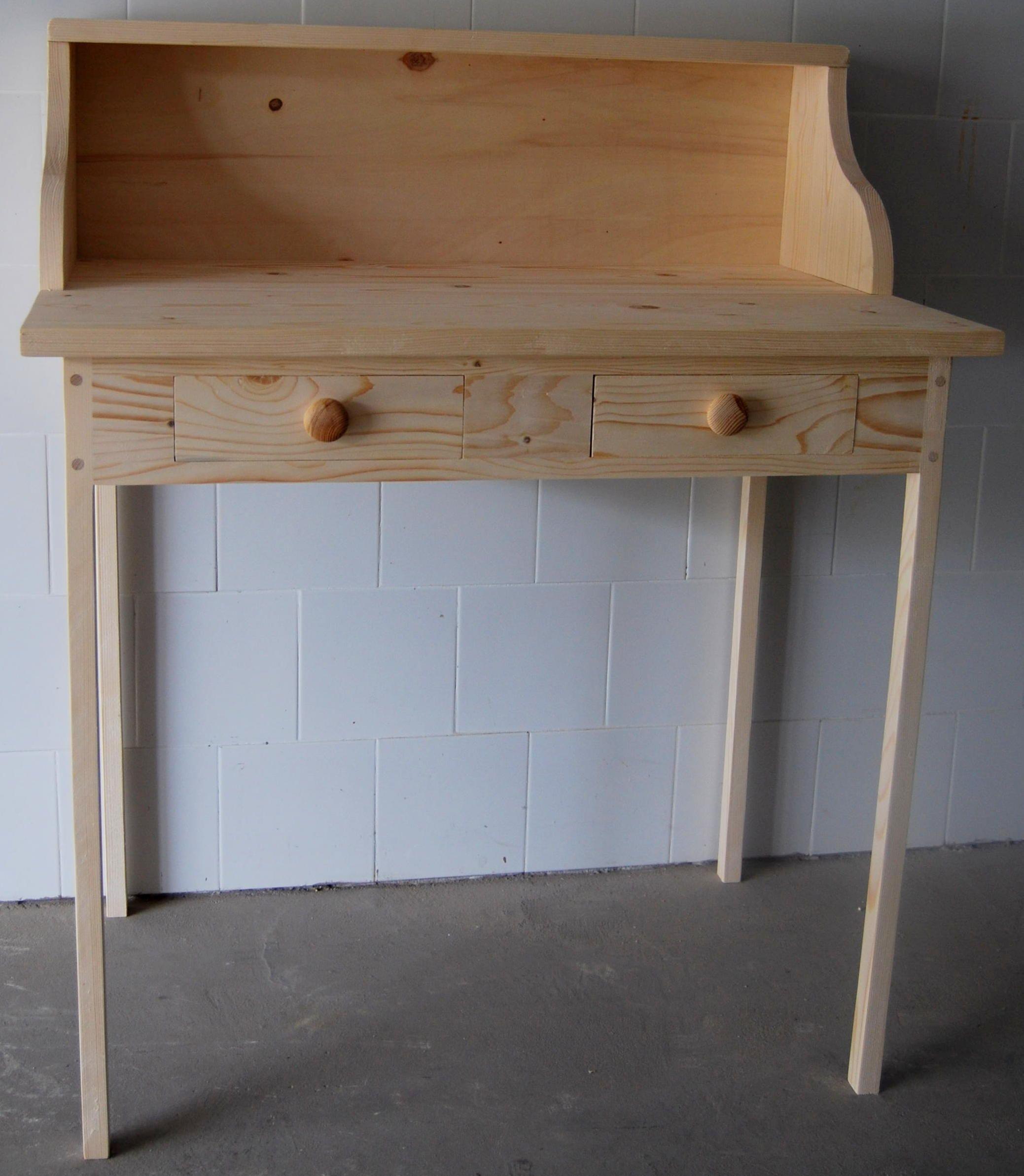 mesa de escritorio de madera con dos cajones color natural madera mueble
