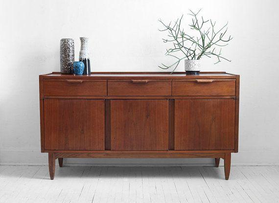 Vintage Teak Credenza Mid Century Modern Wood Buffet By Hindsvik