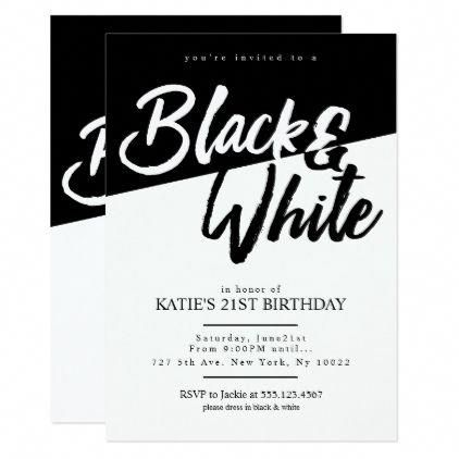 Bachelorette Party Invitations Modern Style Black And White