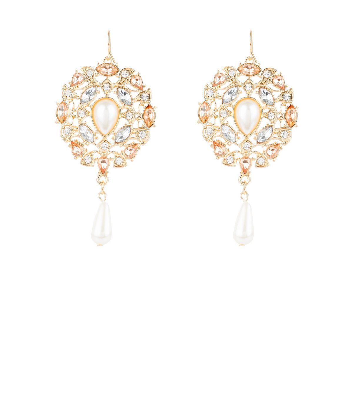 Gold pearl chandelier earrings pearl chandelier gold pearl and gold pearl chandelier earrings aloadofball Image collections