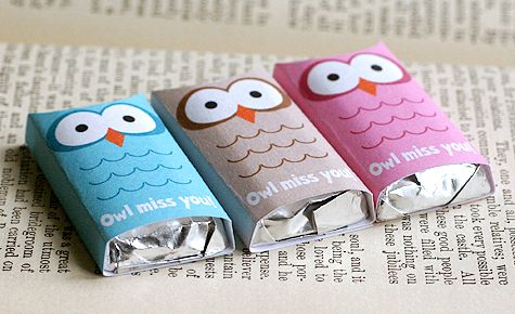 """owl miss you"" end-of-school-year wraps for mini chocolate bars"
