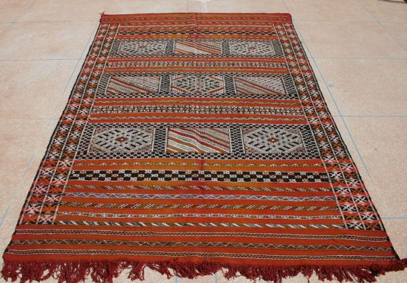 Vintage Kilim Rug 6x9, Large Antique Moroccan Rug, Orange Red Area Rug,  Vintage