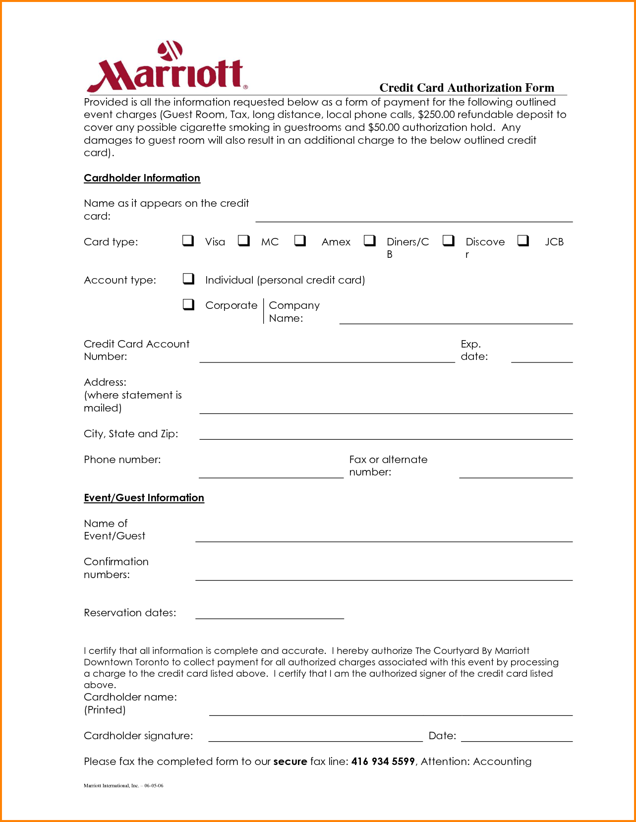 Hotel Credit Card Authorization Form Letter For Check Generic Free