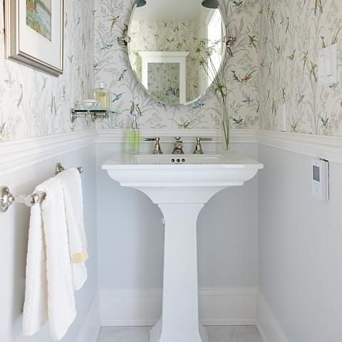 Superb Bathroom: Installing A Chair Rail With Wallpaper On The Upper