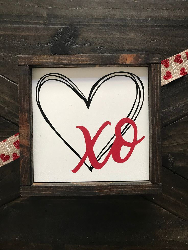 XO Heart sign | Hand painted | Valentine Decor | Home Decor |Tiered Tray Decor| Shelf Sitter | Love