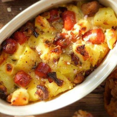 Potato Gratin With Sausages And Mushrooms Recipe