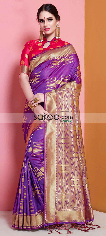 1abe91bb546a2e Purple Festival Wear Saree