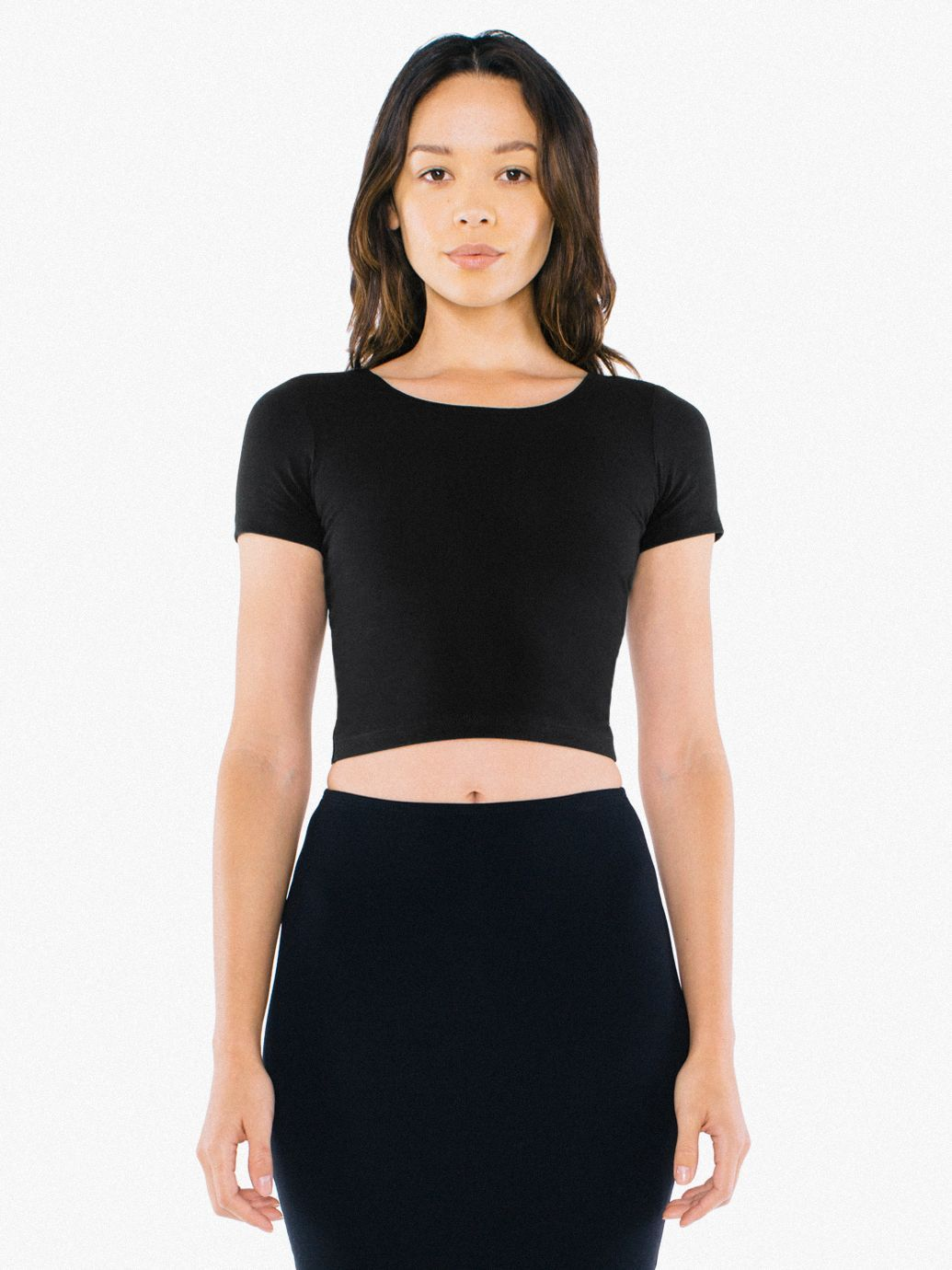 012671e7a07 The Cotton Spandex Jersey Crop T-Shirt is an attention-grabbing fitted  scoop neck t-shirt that hits just above the waist. <BR><BR><SPAN><!--|--><!