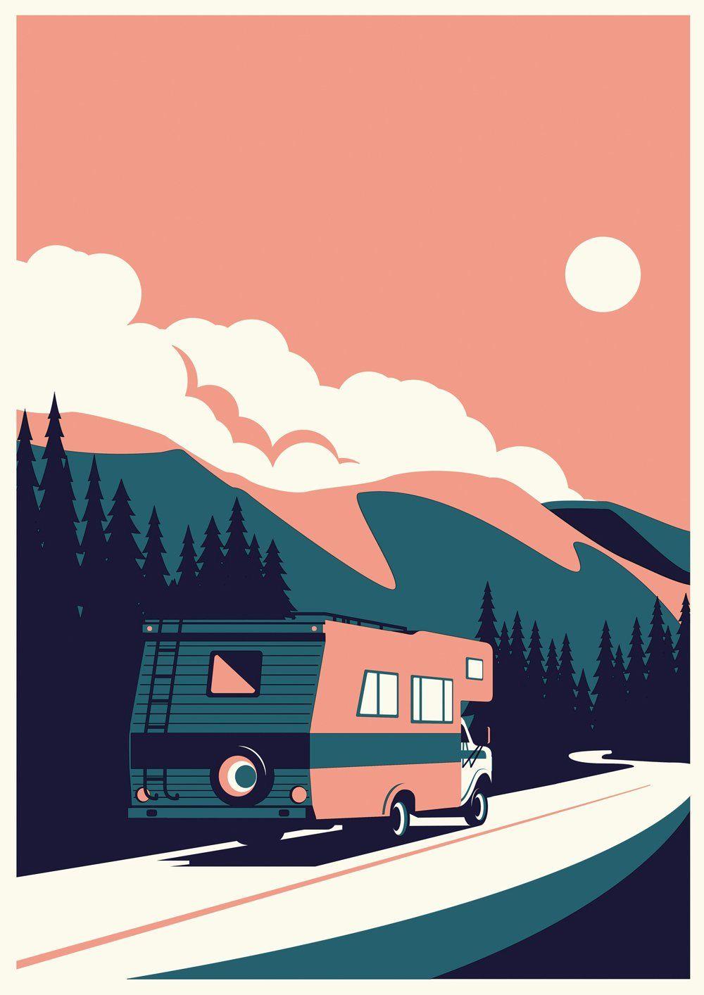 Summertime Travel - RV - Giclée print