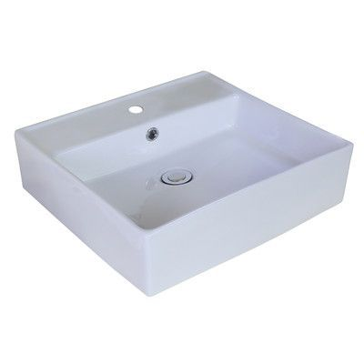 American Imaginations Ceramic Rectangular Vessel Bathroom Sink with