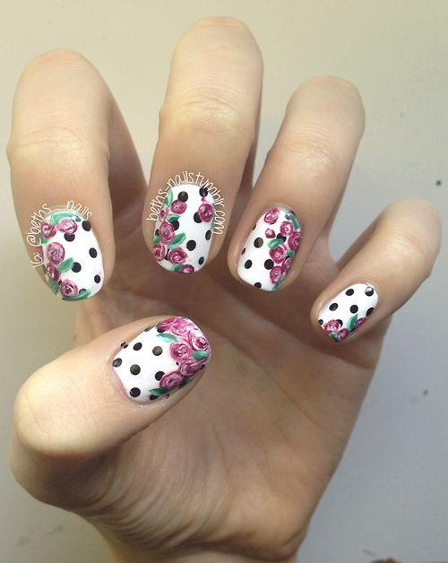 Floral polka dot nail art via tumblr nails pinterest dot floral polka dot nail art via tumblr sciox Image collections