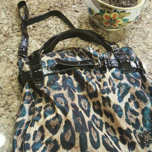 Large Vieta Bag W/Satchel Straps and Shoulder S Turqoise blue Lion spots..Large and Luxiourios bag...New..$55.00 Bags Shoulder Bags