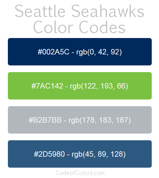 Seattle Seahawks Team Color Codes