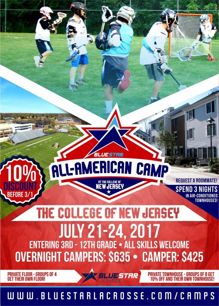 Blue Star Lacrosse All American Camp At The College Of New Jersey Flyer Lacrosse Camp Lacrosse Camping
