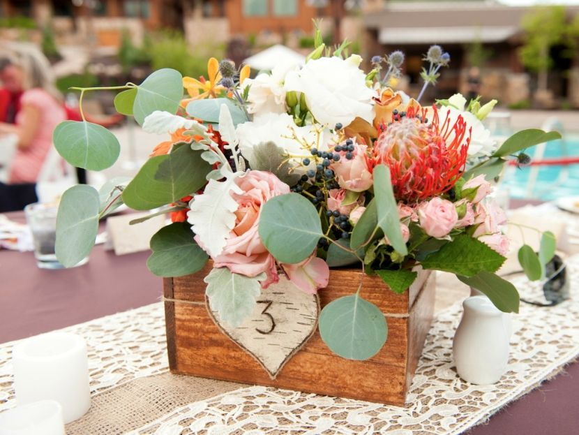 Stunning Rustic Wooden Box Wedding Table Centerpiece With Flowers And  Burlap Lacy Table Runner