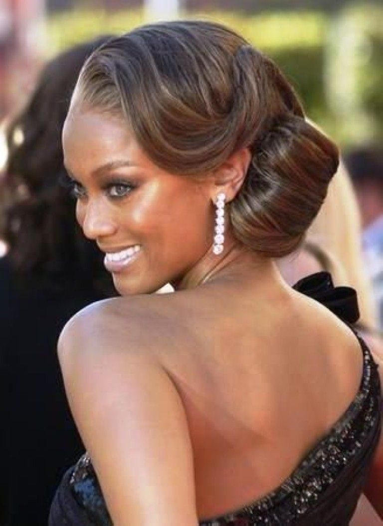 Best wedding medium hairstyle with side bun for black women