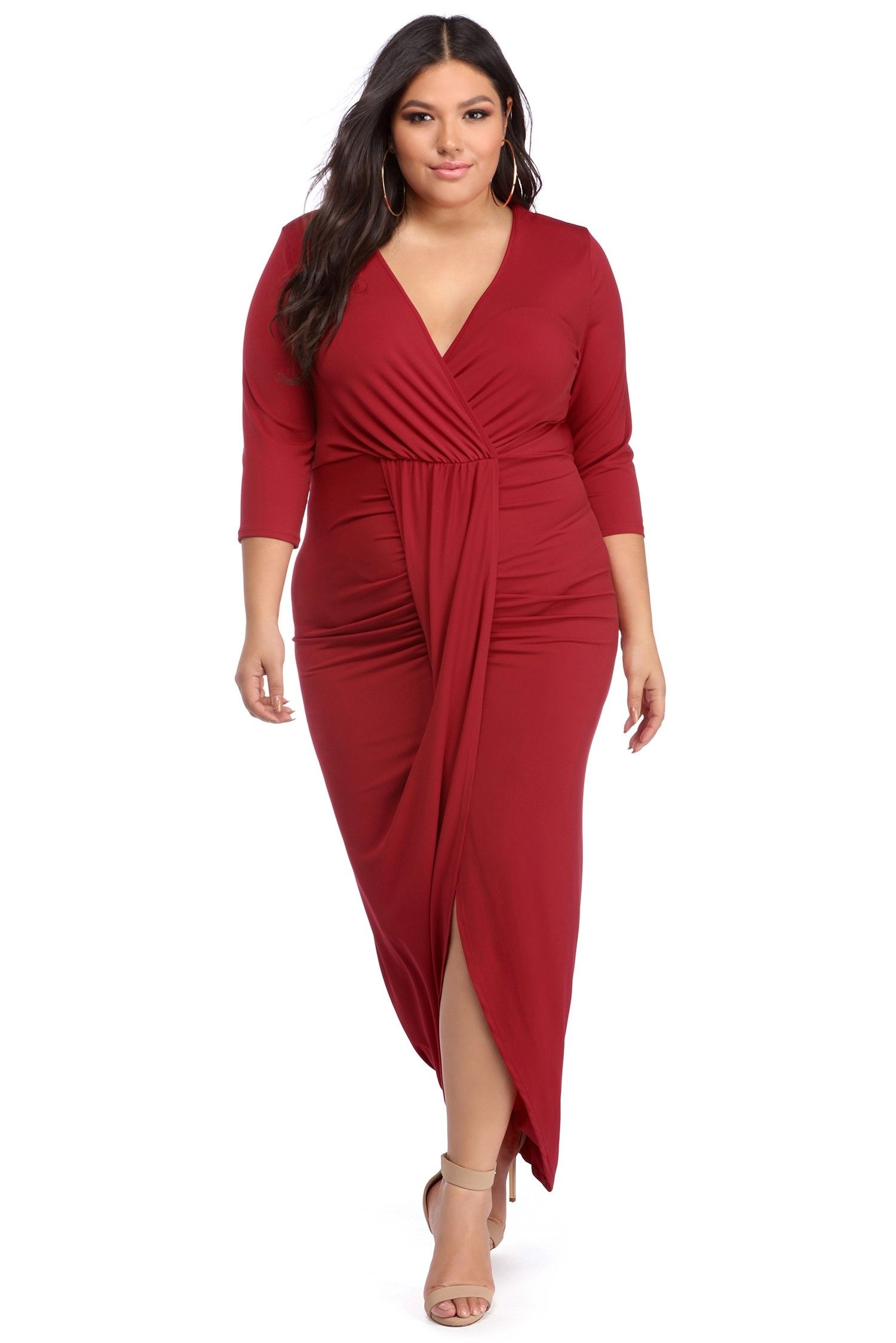 FINAL SALE- Plus Meredith Red Wrapped Ruched Dress | don\'t know what ...