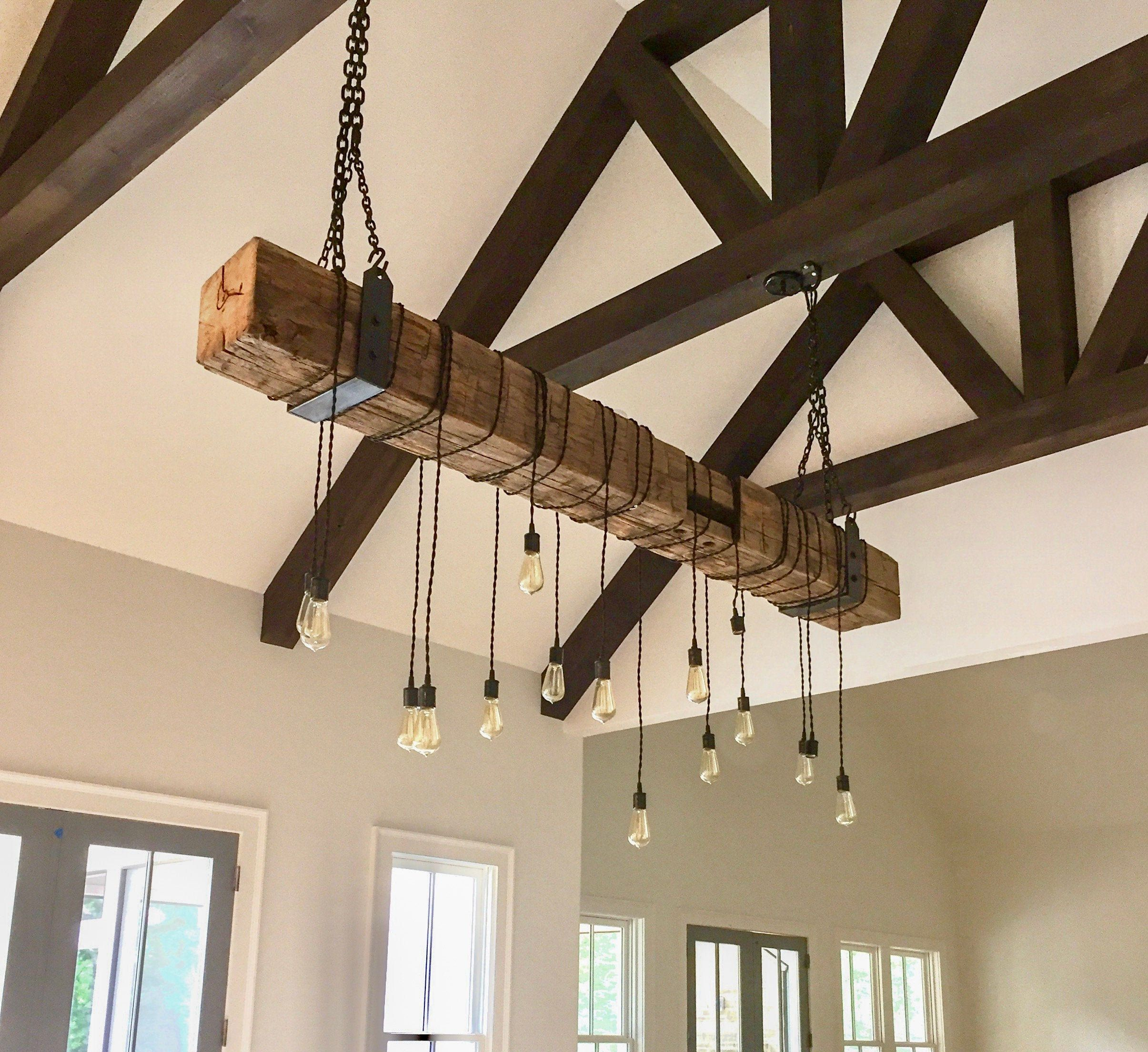 Rustic Chandelier Light Fixture Reclaimed Wood Beam 72 Long With Metal Hanging Brackets And Wrapped Led Edison Lights In 2020 Rustic Chandelier Lighting Contemporary Light Fixtures Rustic Chandelier